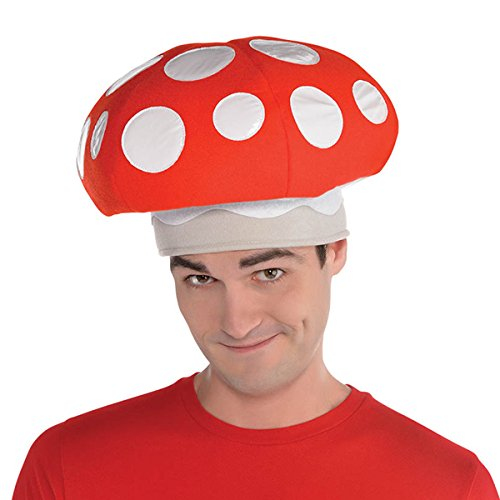 AMSCAN Mushroom Hat Halloween Costume Accessories, One Size -