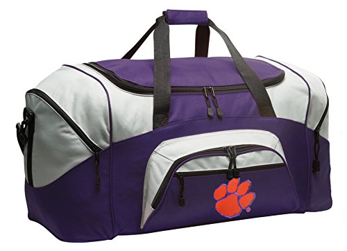 Large Clemson University Duffle Bag Clemson Tigers Gym Bags Purple by Broad Bay