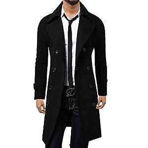 Elonglin Homme Hiver Manteau Trench-Coat à Manches Longues Double Boutonnage Chaud Slim fit Casual Parka Veste Long en…