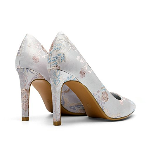T-july Femmes Bout Pointu Haut Talon Glisser Sur La Robe En Satin Pompes Mode Mocassins Chaussures Argenté