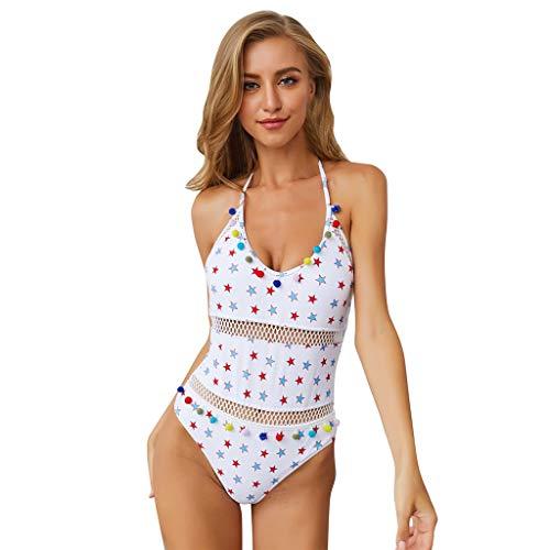 Mesh Swimsuit Cover Up,Londony❤ Women's Mesh Striped High Waist Bikini Set Tassel Trim Top Halter Straps Swimsuit