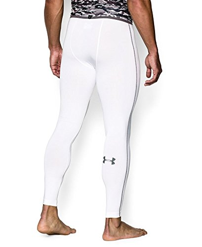 Under Armour Men's HeatGear Armour Compression Leggings, White /Graphite, Small by Under Armour (Image #1)