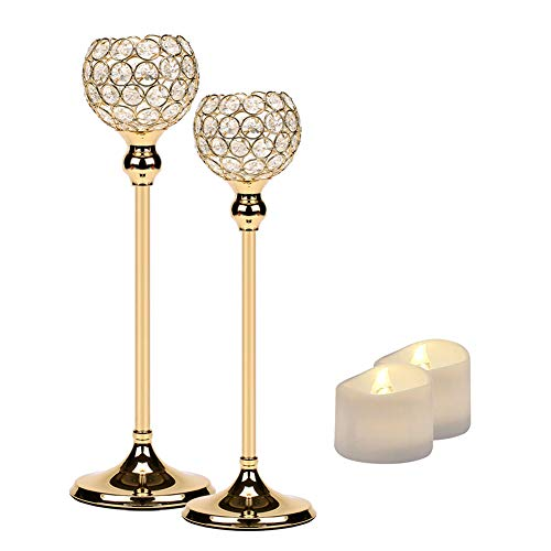 Manvi Gold Crystal Candle Holders Set of 2 for Table, Tall Taper Tealight Candlestick Holder for Wedding Kitchen Dinner Tabletop Centerpieces Decorative, Christmas Thanksgiving Gifts