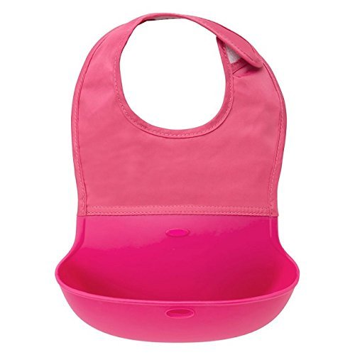Price comparison product image Catchin24 Waterproof Silicone Roll Up Bib For Baby Infants and Kids with Crumb Catcher Pocket - Pink