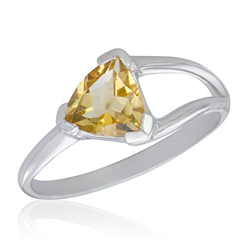 Trilliant Yellow Ring - Women's Yellow Sparkle Sterling Silver Trilliant Citrine Ring