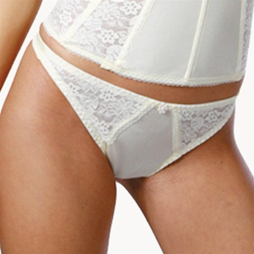 Dominique Lace Trimmed Thong Style 349 - Ivory - Large