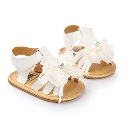 Jamicy® Girls Sandals, Baby Princess Girls Flower Pearl Crystal Sandals Shoes Weiß
