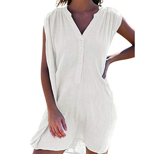 Tantisy ♣↭♣ Women's Linen Sleeveless Casual Button-Down V-Neck Spring Fall Knee Length A-line Shirt Dress with Pockets White