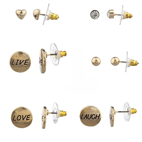 Lux Accessories Goldtone Live Laugh Love Inspirational Multi Earring Set (6PCS) (Marvel Universe Live compare prices)