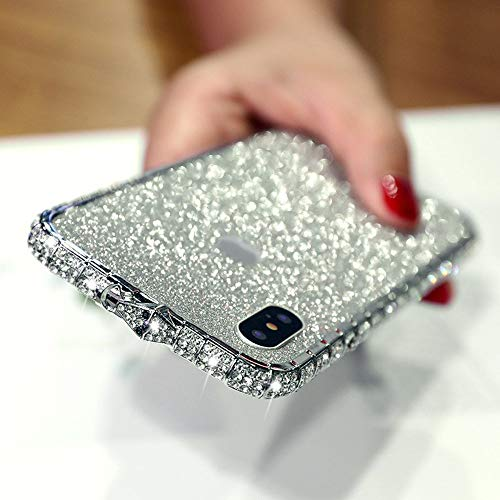 Fusicase for iPhone XR Diamond Case Metal Case Electroplate Bumper Frame Case Luxury Bling Artificial Diamond Crystal Rhinestone Cover Bling Glitter Skin Sticker Case for iPhone XR Sliver