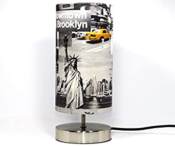New York Lamp Lampshade Light Shade Modern Chrome Table