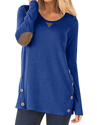 Women's Long Sleeve Faux Suede Casual Blouse Tunic Shirt Tops Blue XL ()