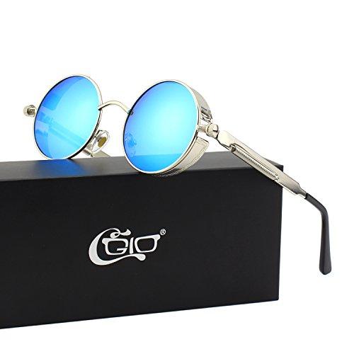 CGID E72 Retro Steampunk Style Inspired Round Metal Circle Polarized Sunglasses