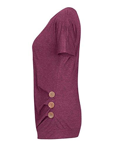 Casuale Koobea Shirt Girocollo T Maglietta Tops Con Magliette Donna Estate Rosso Pulsante Maniche Corte FwwUrIq