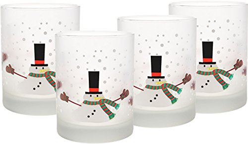 Frosted Old Fashion Set (Culver Frosted Melting Snowman DOF Double Old Fashion Glass, Set of 4, 14 oz, White)