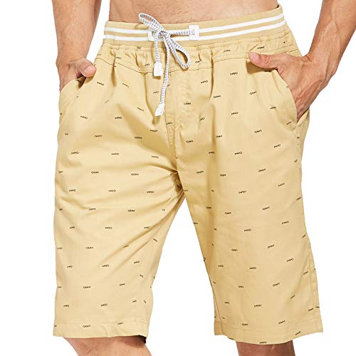Tansozer Men's Shorts Casual Classic Fit Drawstring Summer Beach Shorts with Elastic Waist and Pockets (Khaki, - Classic Drawstring Shorts