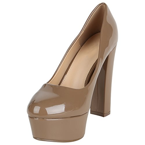 Stiefelparadies Damen Plateau Pumps Lack Metallic Schuhe Party High Heels Stoletto Absatzschuhe Abiball Flandell Khaki