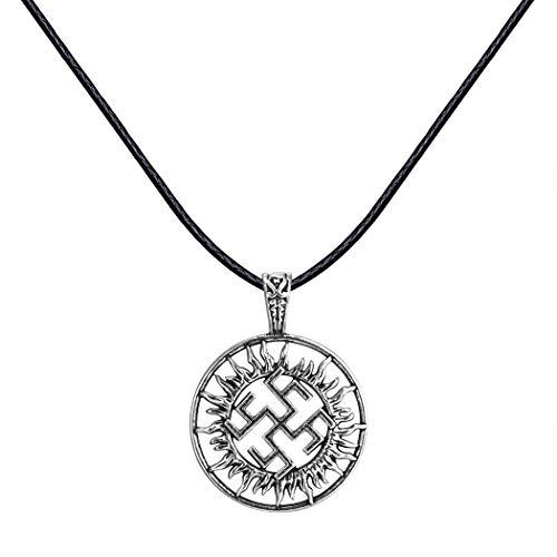 AILUOR Handcrafted Viking Norse Amulet Pendant Necklace, Vintage Sun Wheel Kolovrat Celtic Pagan Slavic Symbol Warrior Talisman Necklace Jewelry Men Unisex (A) ()