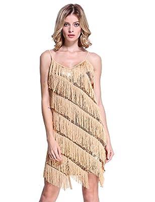PrettyGuide Women Sequin Fringe 1920s Flapper Inspired Party Latin Dress