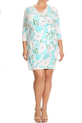 Womens Plus Size Floral Printed Wrapped Sheath Dress MADE IN USA (2X, Mint) (Wrapped Mints Printed)