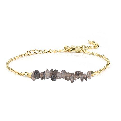 Jeka Smoky Quartz Crystal Bracelet for Women Girls Natural Gemstone Stone Bar 18K Gold Chain Jewelry Dainty Gifts for Valentine's Day - Family Bracelet Crystal