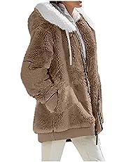 Alwayswin Fleecejacka dam varm huvjacka vinter plysch kappa med huva enfärgad plus storlek vinterjacka dragkedja väska Teddy plyschjacka övergångsjacka huvtröja vinterkappa