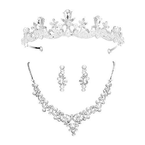 (S SNUOY Bridal Wedding Jewelry Sets Pearl Tiara Necklace and Earrings Sets for Women)