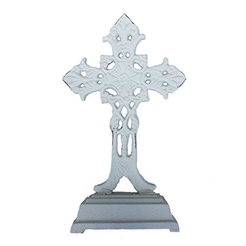 PDS Home White Cast Iron Cross with Standing Base - 9.5