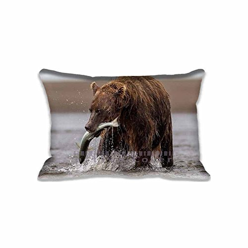 Custom Design Brown Bear With Fish Pillow Cases Zippered , Standard Queen Size Animals Pillowcase - 20X30inch Wild Cushion Covers Two Size Print