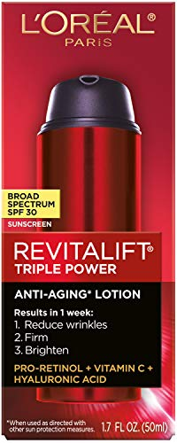 41NqAwgByqL - L'Oreal Paris Face Moisturizer With Spf 30 By L'oréal Paris Skin Care I Revitalift Triple Power Anti-Aging Face Lotion With Spf 30 Sunscreen, Pro Retinol, Hyaluronic Acid & Vitamin C I 1.7 Oz