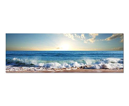 Panoramabild auf Leinwand und Keilrahmen 150x50cm Meer Strand Wellen Sonnenuntergang Wolken