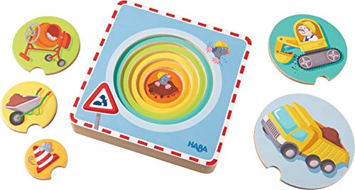 HABA Construction Site 5 Piece Wooden Puzzle with Layered Discs for Ages 12 Months and Up