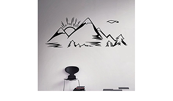 ~ Removable Vinyl Wall Art Mural Decal Home Decor Map Stickers Mountain Scene decal 8x32 or 11x45 Qty 2