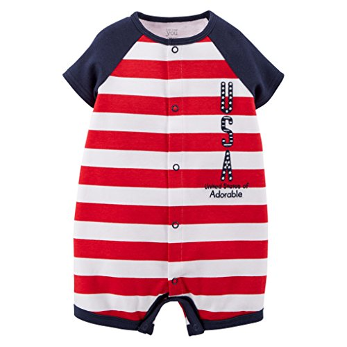 Just One You by Carter's Unisex-Baby USA Romper - Red (6 Months) ()