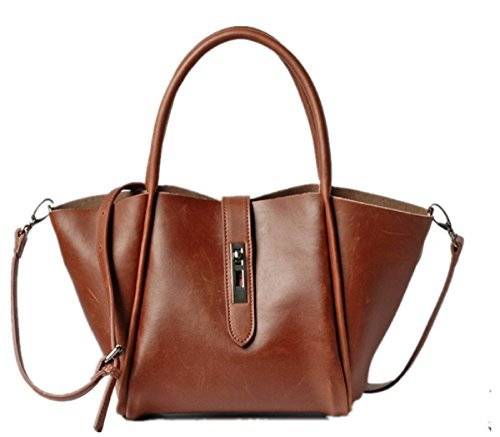 Hermiona Simple Fashion Genuine Leather Bag Shoulder Bag Handbag Crossbody Bag Brown