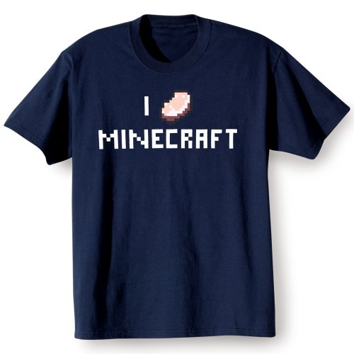 Minecraft Men's I Porkchop Minecraft Basic T-Shirt (Navy, Large) (Chop Top Ca compare prices)