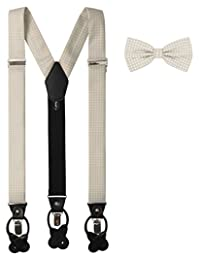 Jacob Alexander Matching Polka Dot Suspenders and Bow Tie - Champagne