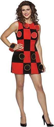 King Me Checkers Dress Womens One Size Red and Black (King Me! Checkers Costumes Adult Size)