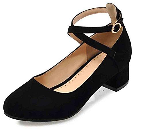 Easemax Mujeres Sweet Round Toe Low Cut Hebilla Cruzada Tobillo Correa De Tacón Medio Bombas Zapatos Negro
