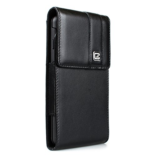 [NEW Gorilla Clip] CASE123 MPS Mk II TL Genuine Leather Large Oversized Vertical Swivel Belt Clip Holster for Samsung Galaxy S6 Edge+ for use with Otterbox Commuter/Symmetry, and more - Black Cowhide