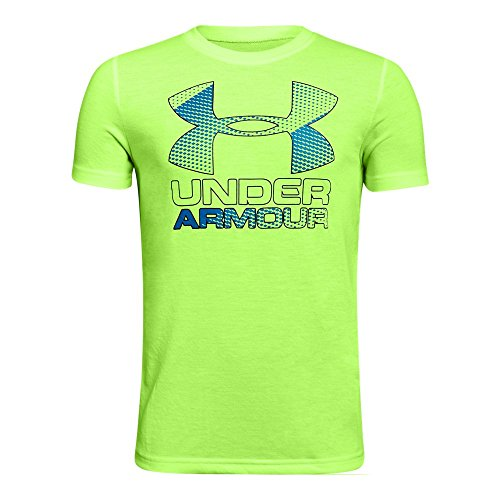 Youth Lime Green T-shirts (Under Armour Boys' Hybrid Big Logo T-Shirt,Quirky Lime/Anthracite, Youth Medium)