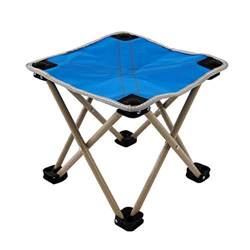 LHJ-fashion Folding Stool Portable Ultra Light Aluminum Frame Camping Folding Ripstop Oxford Non-Slip Foot Outdoor Stool (Color : Blue, Size : 282826cm)