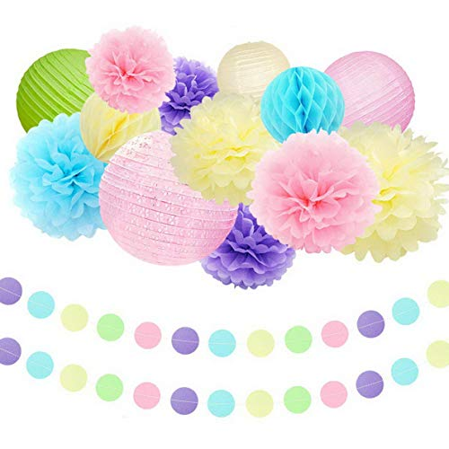 - Gatton Unicorn Supplies - Pink Tissue Paper Pom Pom Flowers Eyelet Paper Lanterns String Hanging Circle Dots Garland for Shower Decorations Nursery Room Wall Decor | Model WDDNG - 2554 |