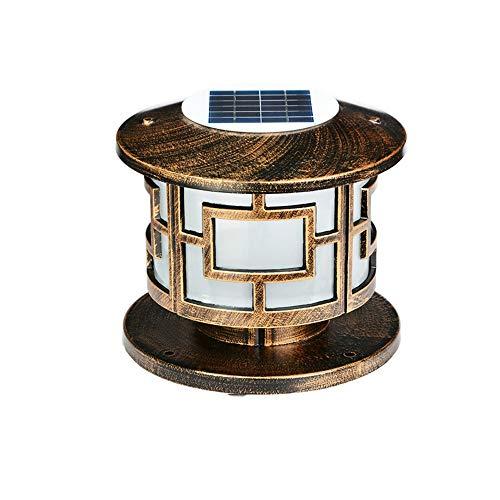 (Lexluy Solar Column Head Lamp Outdoor Garden Décor Post Lamp Pathway Door Wall Lamp Round Waterproof Post Pillar Lantern Light IP44 (Color : Solar Energy, Size : S))