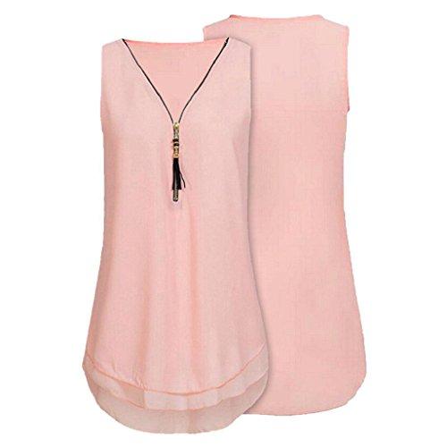 Vorne Shirt Rosa Elegant V Unterhemd Chiffon 02 Ärmellos Bluse Rovinci Tank aushöhlen Ausschnitt Damen Hemdbluse zurück Tops Reißverschluss Sommer T Weste Frauen Unregelmäßigkeit xOa1C0