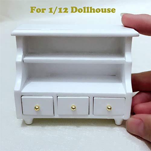 Maikouhai Mini Plastic Dollhouse Furniture Cabinet Miniature Living Room Bedroom Kids Pretend Play Toy, 5.3x4.1x6.6cm, White