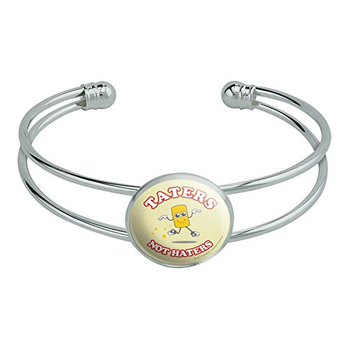 GRAPHICS & MORE Taters Not Haters Tots Funny Humor Novelty Silver Plated Metal Cuff Bangle -