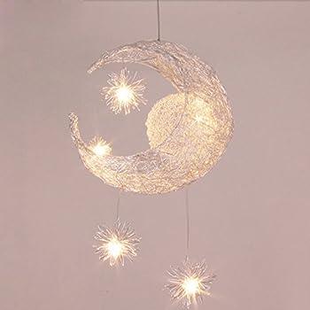 Silver Aluminum Fairy Moon And Star Ceiling Lamp Pendant Light For Children  Kids Bedroom (Moon