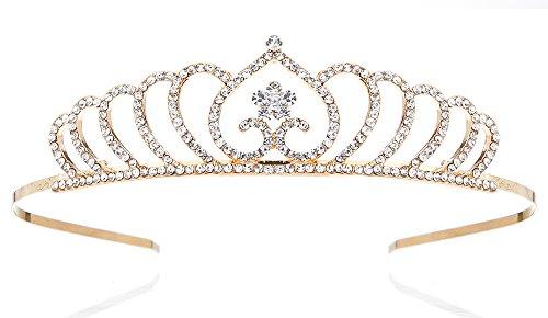 NIPOO 2018 NEW Unique Golden Princess Crown for Girl Birthday Wedding Party Flower Girl Tiara Headband, Daughter/Granddaughter - New Golden Care