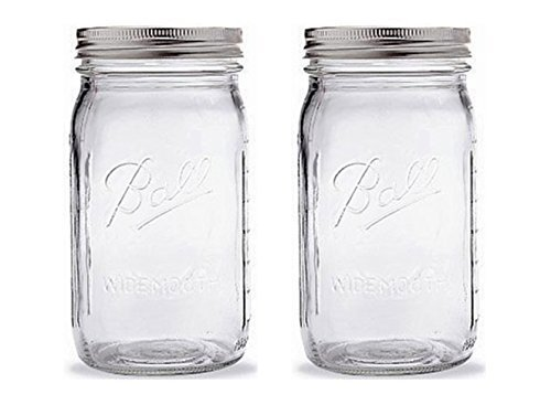 Ball Quart Jar with Silver Lid, Wide Mouth, Set of 2 by Ball